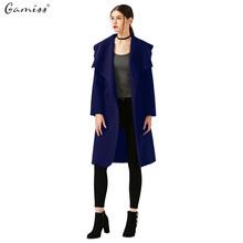 Gamiss Women Fashion Elegant Woolen Long Trench Coat With Belt Ladies Wool Coat Winter Jacket Long Maxi Overcoat manteau femme(China (Mainland))