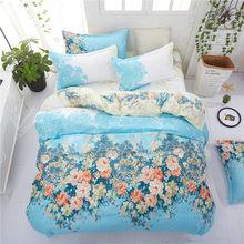 home bedding flower bedding set 3/4pcs bed linen summer duvet cover set elegant wedding bed set home decor pastoral flat sheet(China)