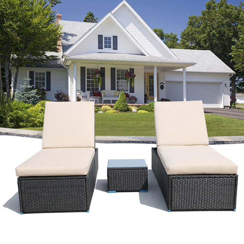 ACTIONCLUB Outdoor Furniture Home & Garden Sets Water Proof Rattan Lounge Chair With Tempered Glass Table Set (Fedex & 2-7 Days)(China (Mainland))