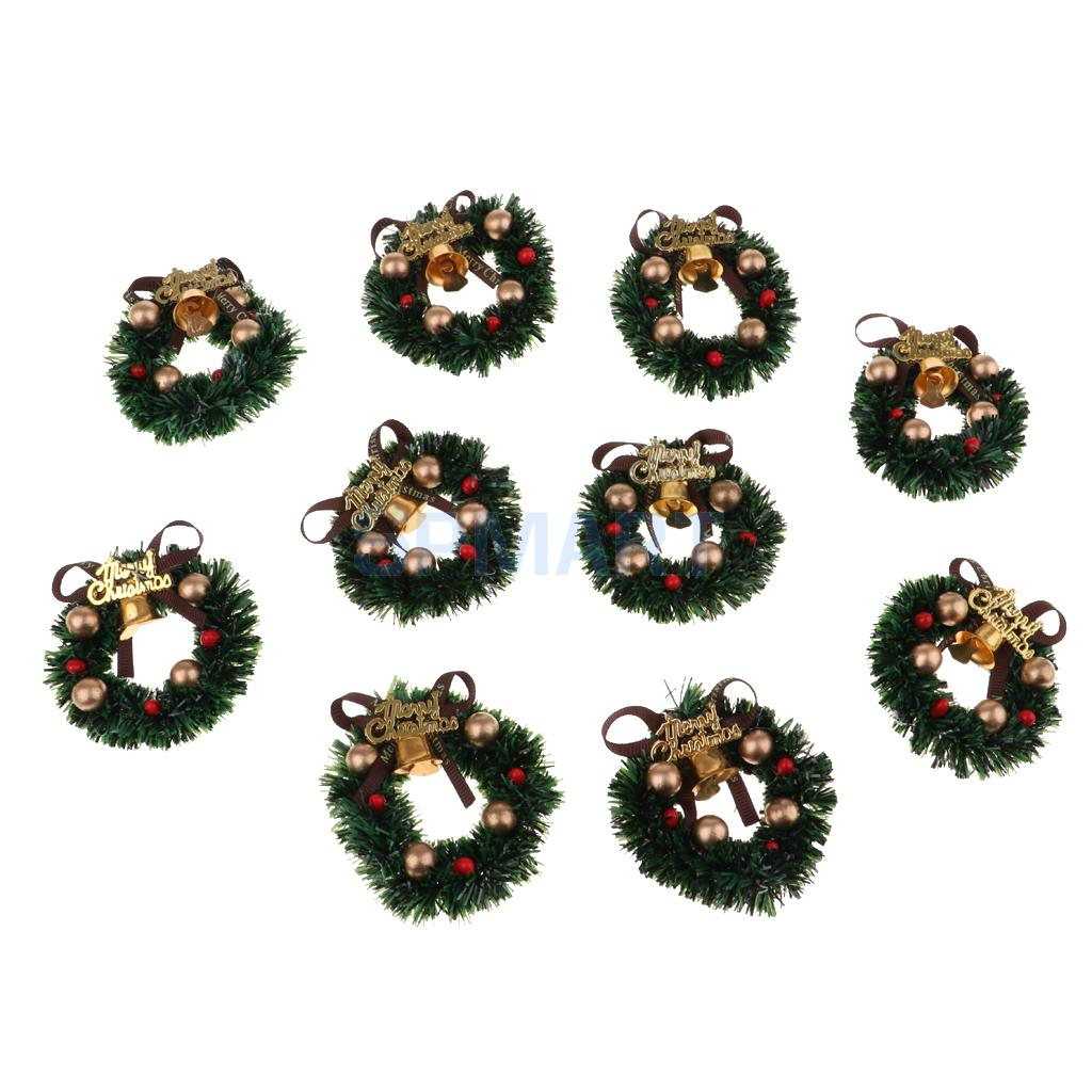 Miniature Christmas Wreaths Creative Xmas Art Supplies For 1/12 Dollhouse Christmas Crafts and Wall Decorations 10 Pieces