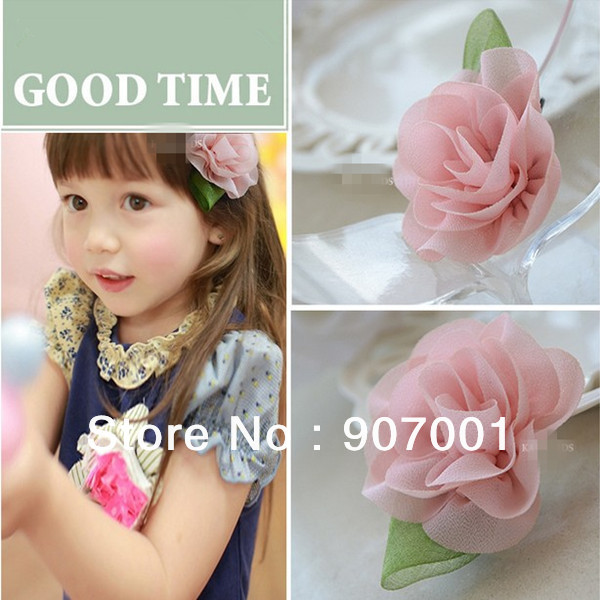 Fashion Light pink Chiffon Hairpin Rose Hair Clip/Hairband For Girl /Hair Accessories For Girl Gift Photography Props XM-152(China (Mainland))