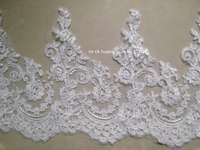 Free Shipping 1 meter white/Ivory Embroidered lace fabric flower accessories DIY material wedding dress fabric/Lace Trim(China (Mainland))