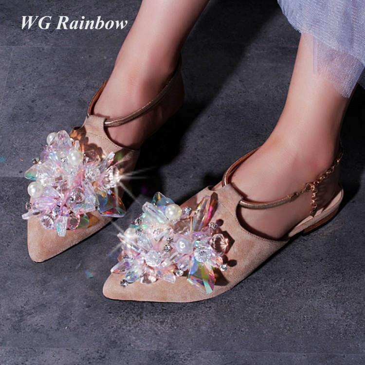 Фотография Pointed Toe Woman Sandals 2016 Summer Suede Rhinestones Gladiator Sandals Flat Heel Cinderella Crystal Bridal Wedding Shoes