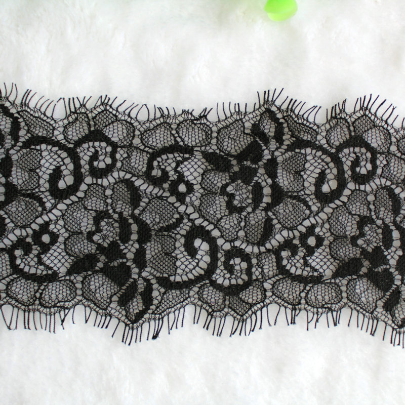 Free shipping by ePacket 3 meters 8cm elastic eyelash lace trim soft webbing garment accessories()