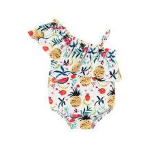 1-5 T طفل الاطفال الطفل الفتيات الملابس الزهور طباعة واحدة الكتف بيكيني بحر المايوه ملابس السباحة الاستحمام الملابس(China)