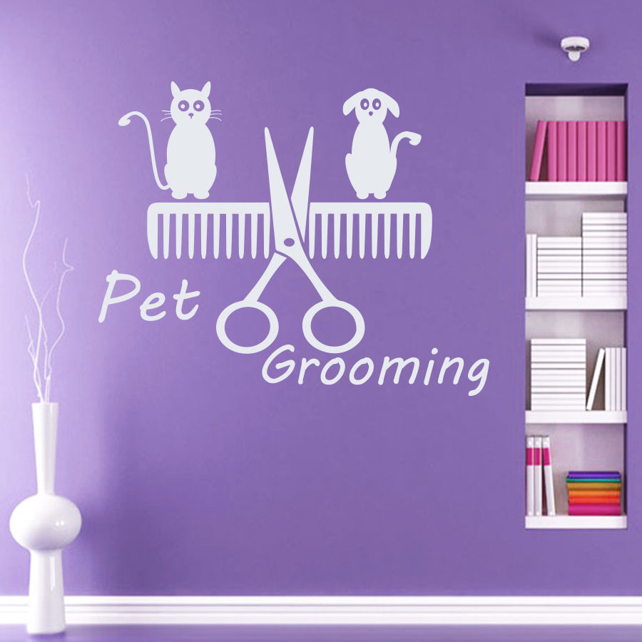 Wall Decal Pet Grooming Salon Dog Cat Shop Comb Art Vinyl Sticker Decor