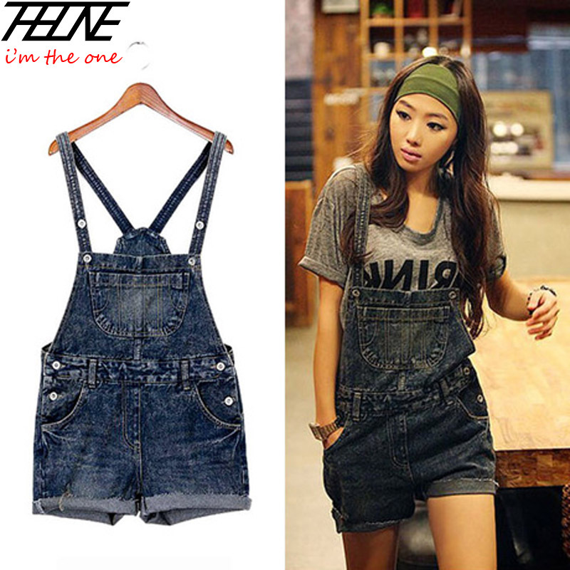 2015 Women Denim Jumpsuits Shorts Jeans Ripped Destroyed Fashion Flange Playsuits Holes Pockets Washed Dark Blue(China (Mainland))