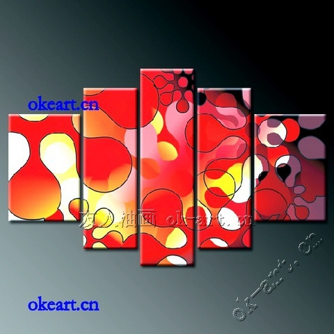 Modern oil painting on canvas black white red abstract art sale bedroom living room home decor 5 panels wall art wholesale(China (Mainland))