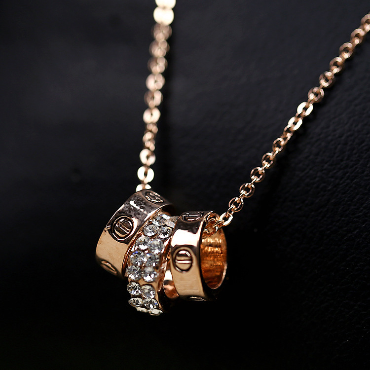 full rhinestone three circle 18K Rose Gold Pated Pendant Necklace Jewelry Austrian Crystal - Sycamore Trade store
