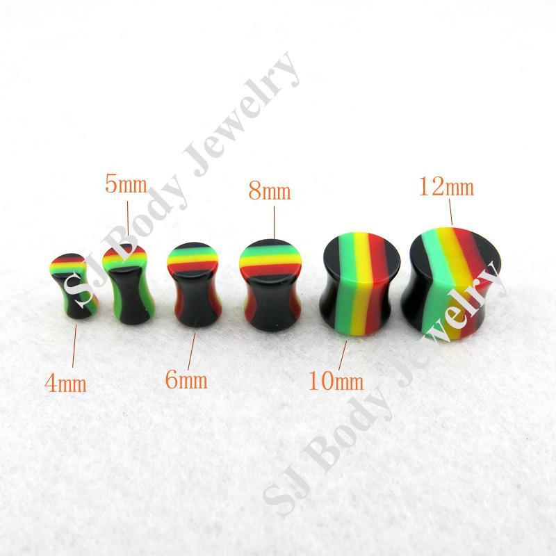 120 pcs/lot Mixed Sizes Rainbow Stripe Acrylic Double Flared Saddle Plugs Ear Gauges(China (Mainland))