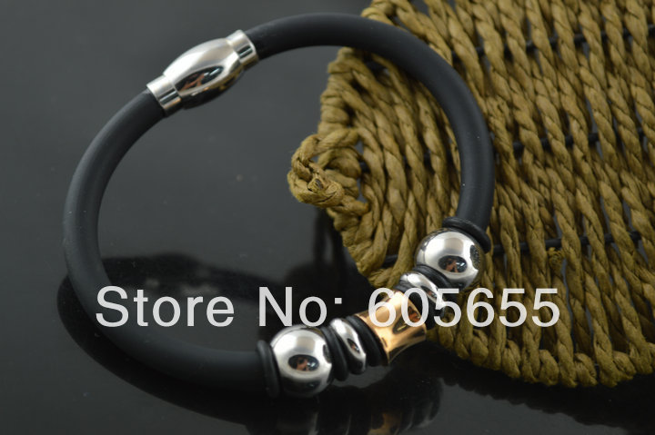 New style Rubber Cord Bracelets with High Quality Magnetic stainless steel Clasps Fashion Man's Jewelry(China (Mainland))