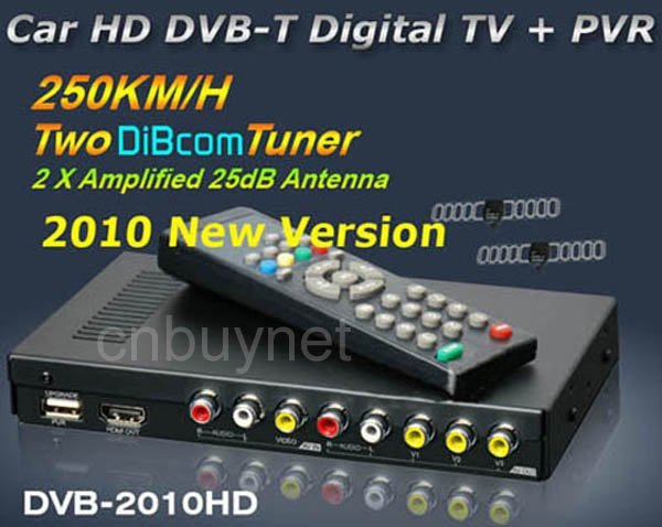 Promotion Car HD DVB-T tuner receiver box MPEG4 2010HD+PVR+with 2 tuner, 1 Video Inpute