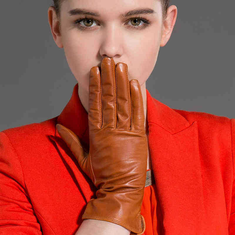 Long Gloves Women 100% Sheepskin Fashion Casual Genuine Leather Mittens Brown Color guantes piel STGE086 - CF Online Store(Factory Outlet store)