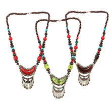 Tribal Jewelry Vintage Long Pendant Necklace Antique Gypsy Tribal Statement Women Beads Necklace