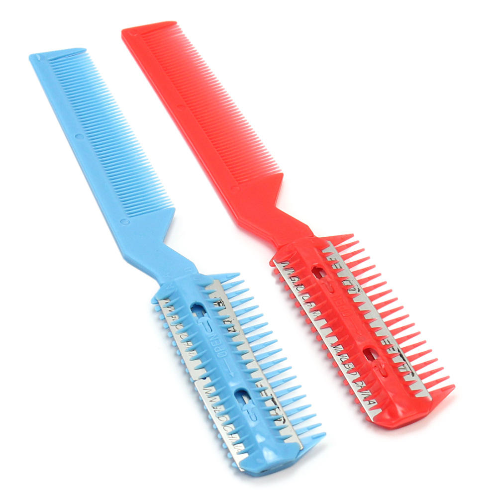 2 Pcs DIY Professional Home Plastic Steel Hair Razor Comb Scissor Hairdressing Thinning Trimmer Styling Tools in Super Quality(China (Mainland))