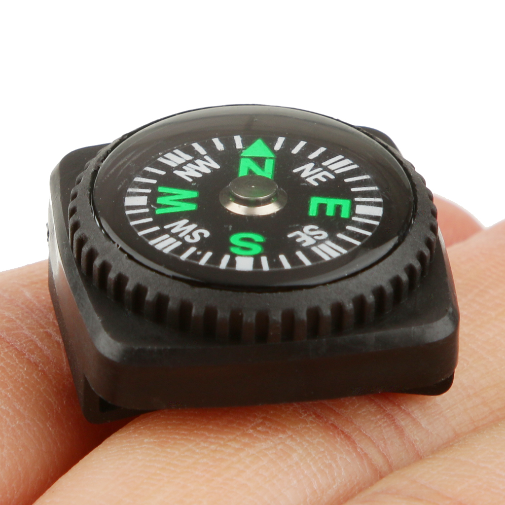 Pocket Compass with Holster Watch Band Paracord Bracelet Waterproof Compass Black Color Easy Carry Camping Hiking Accessory