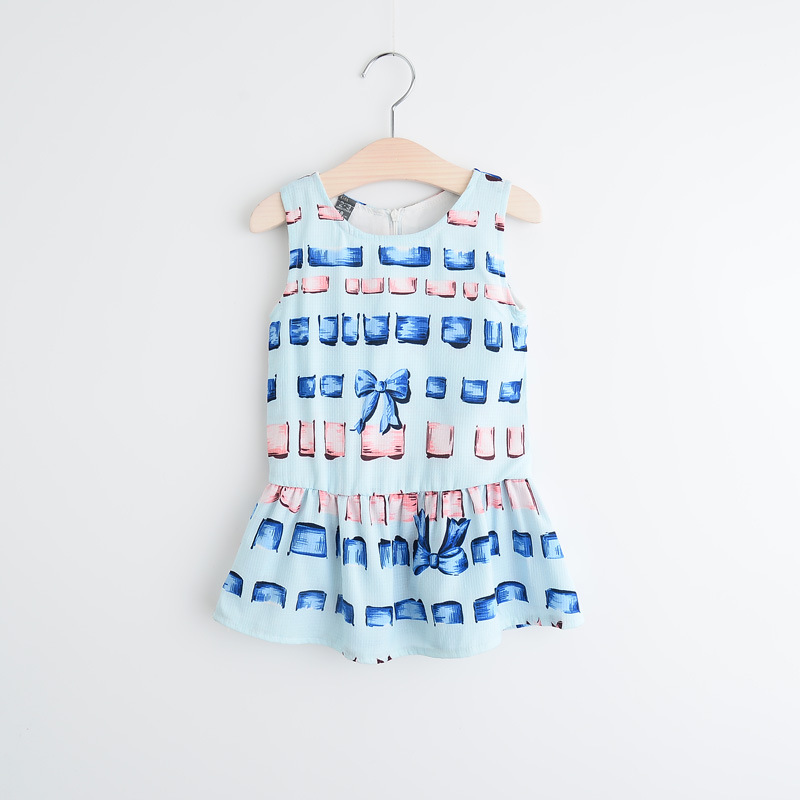 New Childrens girls vest dress  fashion bowknot square printed sleeveless dresses wholesale<br><br>Aliexpress
