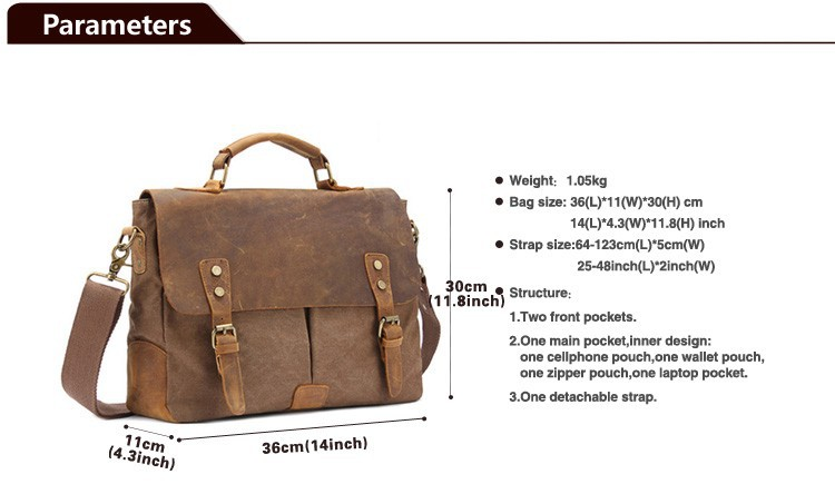 Real Leather Canvas Bags Simple Retro Style Cross Body Messenger Bag