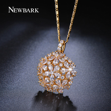 NEWBARK Trendy Flower Cluster Design Cubic Zirconia Diamond Paved Necklace 18K Gold And Platinum Plated Jewelry