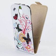 Fashion Plum Blossom Butterfly Flip PU Leather Stand Wallet Case Cover For Samsung GALAXY S4 Mini I9190 I9192 Cell Phone