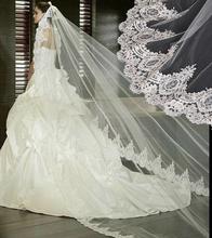 2016 Real Photos White/Ivory Wedding Veil 3m Long Lace Mantilla Bridal Veil Wedding Accessories Veu De Noiva