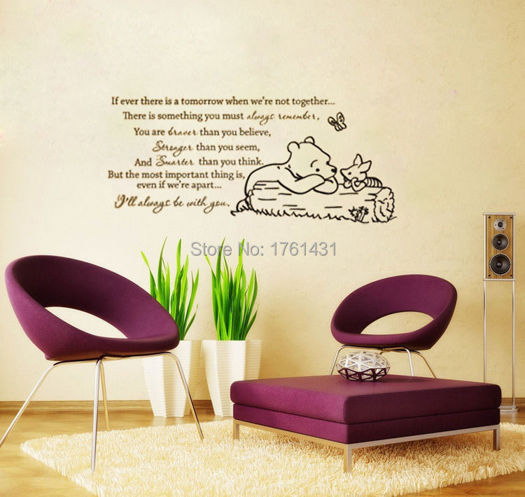 Classic winnie the pooh if ever there is a tomorrow baby for Classic winnie the pooh wall mural