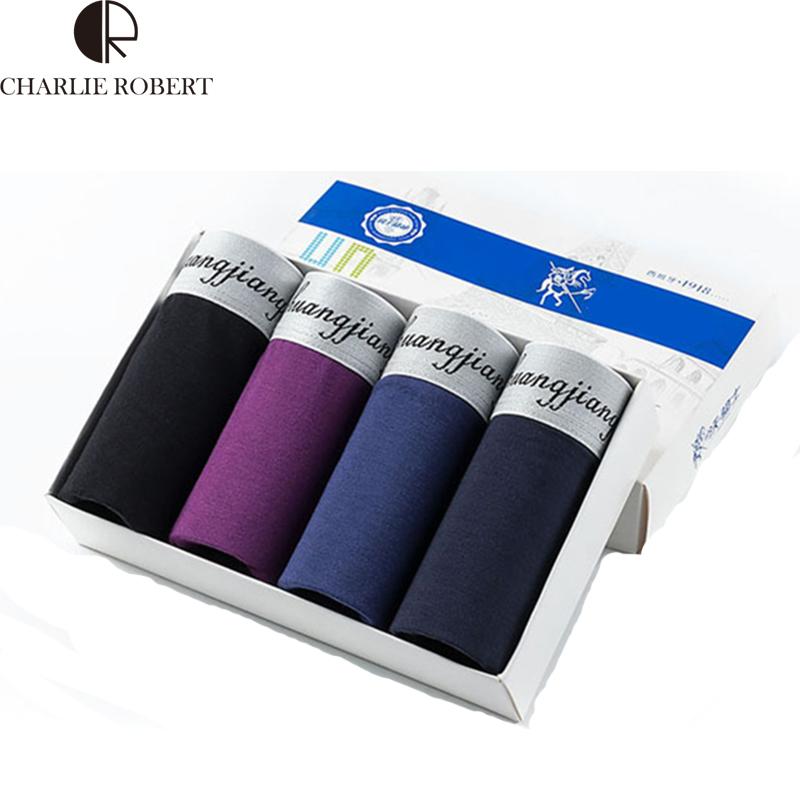 High Quality Men Modal U convex Underwear Solid Pants Men's Patchwork Silver Edge Boxers Shorts 4pcs/Box(China (Mainland))