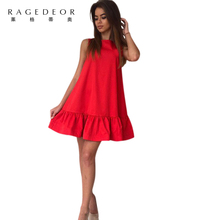 Buy 2017 summer new Casual A-Line O-neck women dress solid Cute Shoulder ruffles mini dress sexy party elegant vestidos for $7.19 in AliExpress store