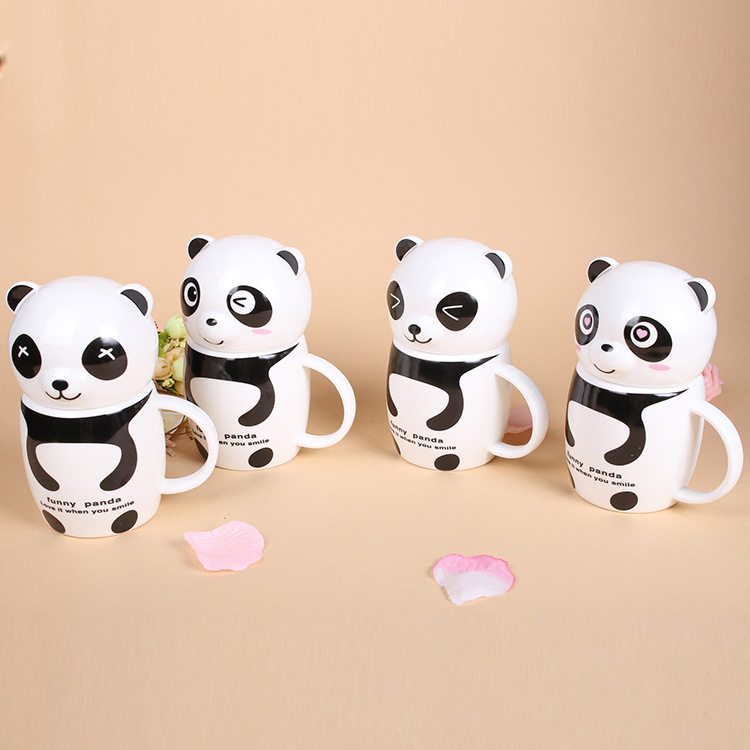 Ceramic Panda Cup Fancy Coffee Cups Panda Mug Anime Coffee Mugs Cute Cup(China (Mainland))