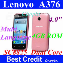 "Freeshipping original pink russian Lenovo A376 SC8825 Dual Core 1.2GHZ 4.0"" andriod 4.0 phone dual sim gps white in stock(China (Mainland))"