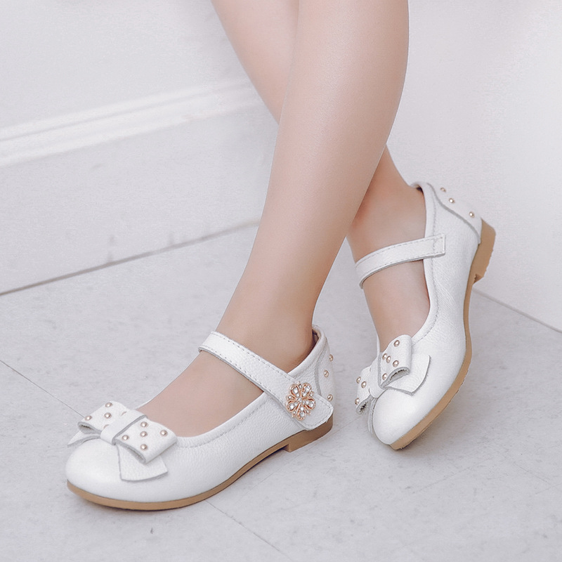 2016 Fashion Autumn Girls Lovely Flat Dancing Genuine Leather Dress Shoes Children Leather Shoes For Girls Non Slip Bottom Shoes(China (Mainland))