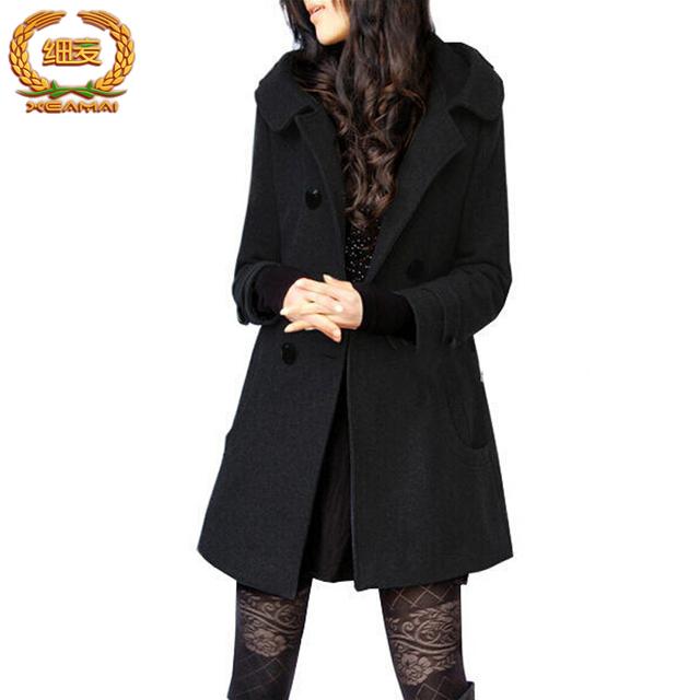 Casaco feminino Зима с капюшоном пальто 0-15 градусов по цельсию средней длины однобортный женщины пальто вне пальто вскользь куртка