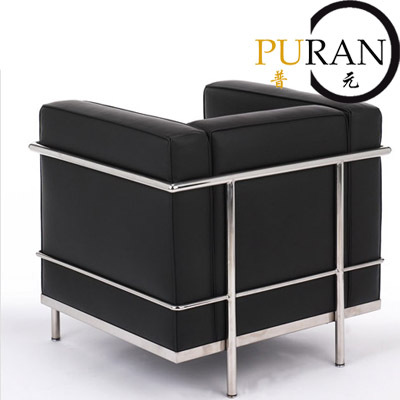 Le corbusier lc2 petit comfort sofa chair metal frame genuine leather surface room Steel frame sofa
