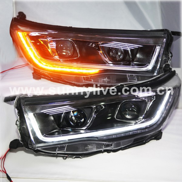 For TOYOTA Highlander LED Strip Car Headlights Kluger LED Front Lamps 2014 to 2015 Year PW(China (Mainland))