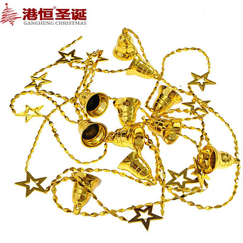 Christmas tree ornaments 270cmx3cm bell-shaped five-pointed star light Christmas chain string Christmas decorations 50g(China (Mainland))