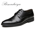 BIMUDUIYU 38 47 High Quality Leather Dress Shoes Tide Pointed England Style Business Wedding Formal Flats