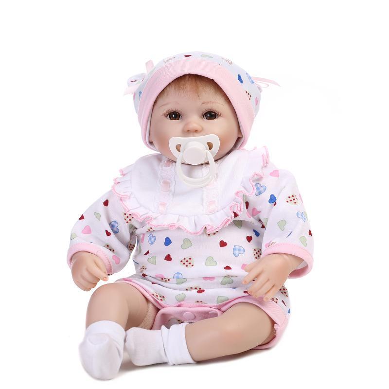 Фотография UCanaan 40-45cm Silicone Reborn Baby Dolls Cute Babies Lifelike New Year Gift for Little Girl Sweet Baby Doll Early Education