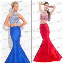 2016 White Gold Crystal Sparkly Two Piece Prom Dresses b1 Long Mermaid Abendkleider 2 Formal Party Evening Gowns - Prefect~Rainbow~Dress store