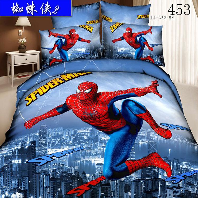 Cotton 3D 4pcs bedding set Queen King bedclothes sets Home Textile sheets quilt cover duvet cover pillowcase Urban Spider-Man(China (Mainland))