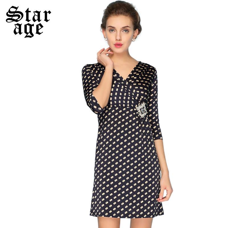 S-XXXXL Women Polka Dot Print Dress Brand Ladies Diamond Beads V-Neck Half Sleeve Pencil Dress Plus Size Autumn Dresses 12802(China (Mainland))