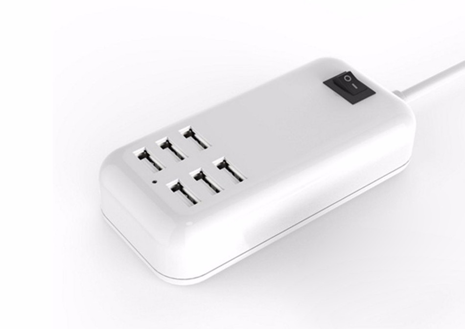 EU Plug 6 Ports Mobile Phone Adapter 15W 3A Wall Dock USB Charger For iPhone 5 6 iPad Samsung xiaomi LG Xperia Charging Device
