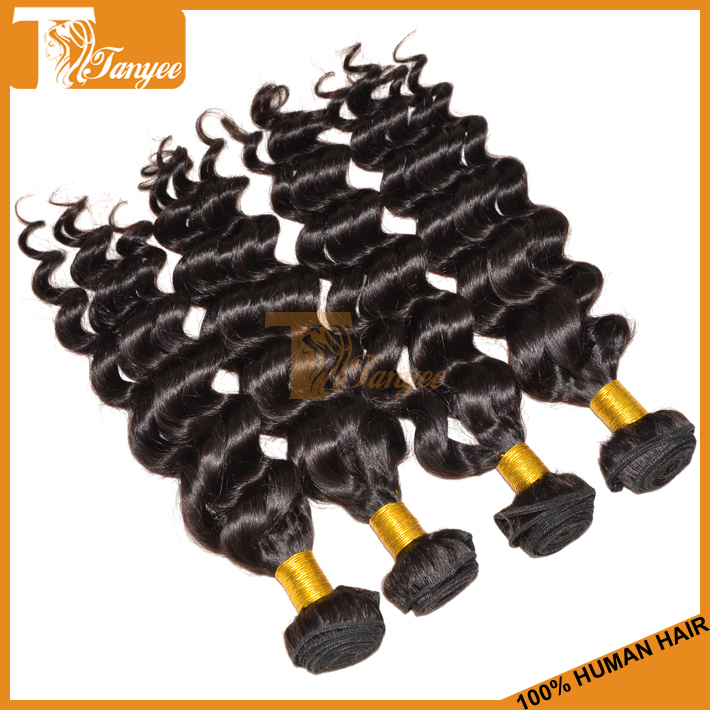 Cheap And High Quality 6A Mongolian Human Virgin Hair Extensions Loose Wave More Wavy Natural Black Color 3/4pcs Lot Can Bleach(China (Mainland))
