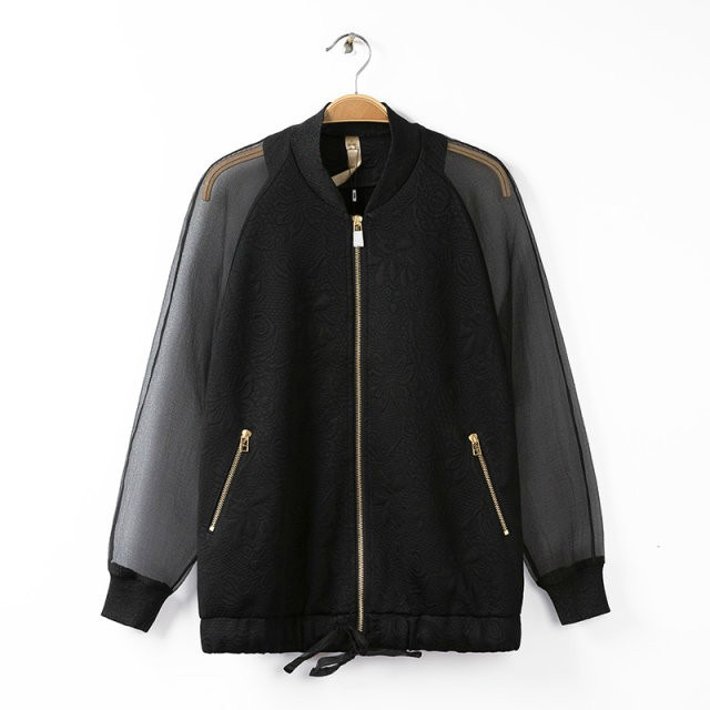 New Arrival Women Short Jacket Organza Stitching Coat Long Sleeve Zipper Jacket Jacquard Weave Coat Casual Slim Outwear BO014(China (Mainland))