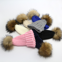 2016 Natural Fur Raccoon  PomPoms Hats For Kids New Arrival 1-4 Years Old Warm Knitted Crochet Baby Hats Soft Knit Beanies Hats(China (Mainland))