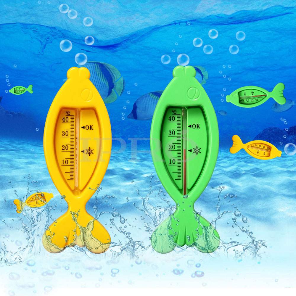2Pcs/ Set Quality Floating Fish Lovely Plastic Float Toy Baby Bath Tub Baby Water Thermometer Sensor With Tracking Information(China (Mainland))