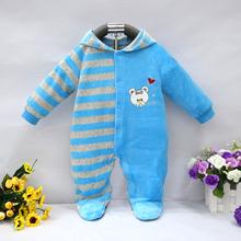 2016 baby hooded footie newborn girl infant boy clothing velvet winter spring one piece kid long sleeve kidswear apparel(China (Mainland))
