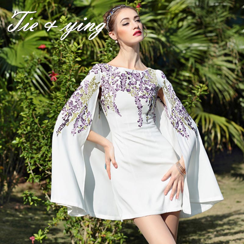 2016spring new arrival women runway embroidery cloak dresses American & European fashion runway luxury brand floral cappa dress(China (Mainland))