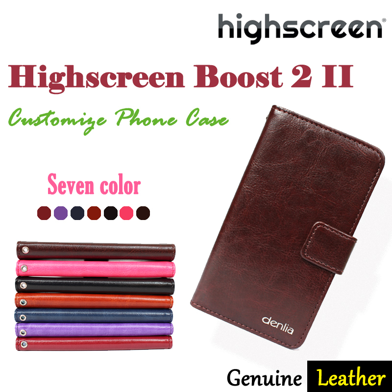 In Stock!7 Color Ultra-thin Bifold Genuine Leather Case For Highscreen Boost 2 II SE Card Wallet Protective Cover+Free Gift(China (Mainland))