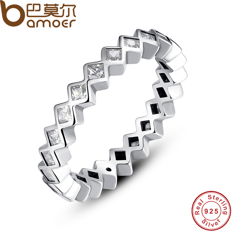 BAMOER 925 Sterling Silver Alluring Princess Stackable Finger Ring with Clear CZ Original Fine Jewelry PA7158(China (Mainland))