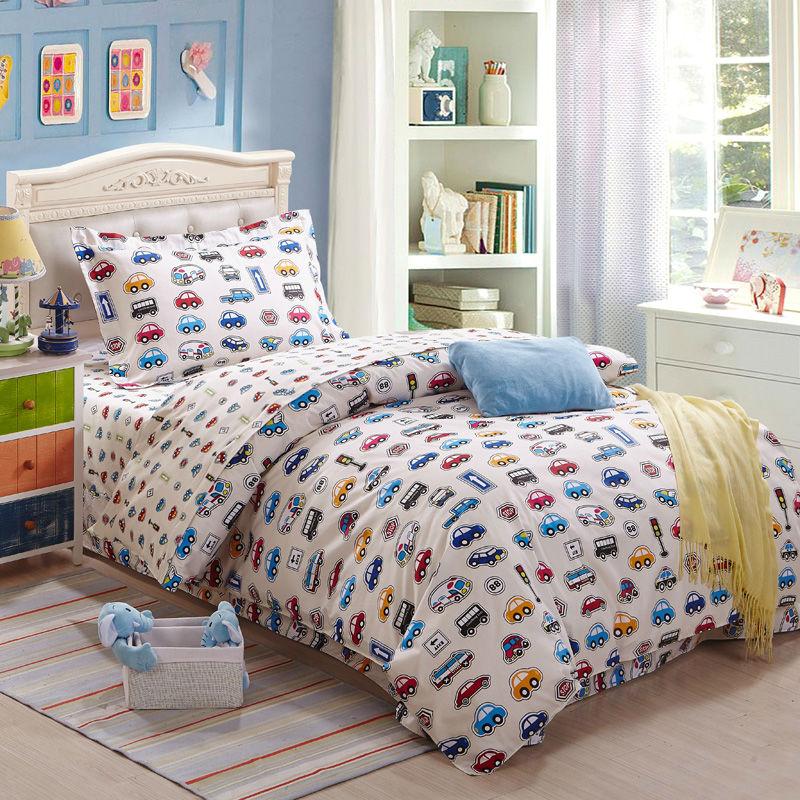 bedding set 3pcs printed cars kids cartoon 100%cotton duvet cover set bedsheet pillowcase for twin size single bed quilt set(China (Mainland))